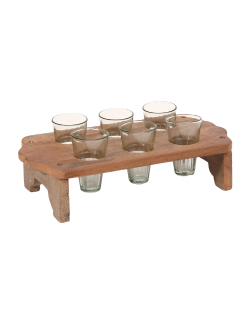 Butler Wood brown tray with glass holders