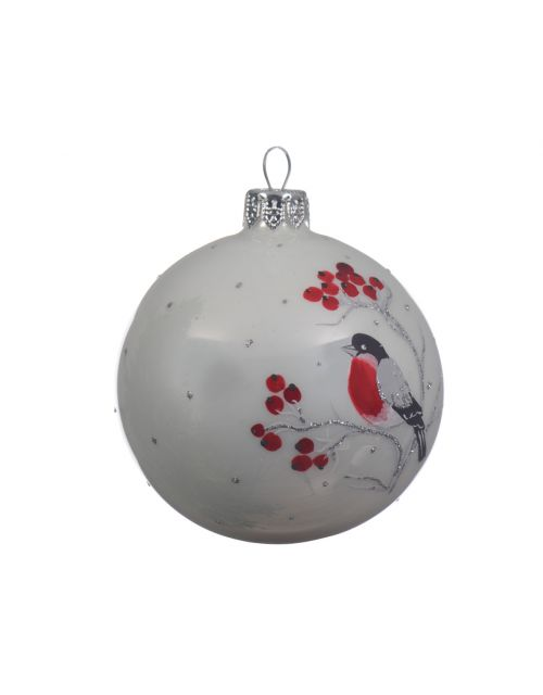 decoris bauble bird winter white